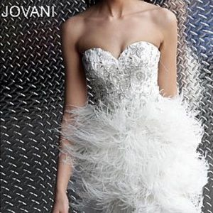 Jovani ivory beaded strapless feather short dress